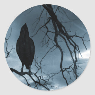The Raven - Nevermore Sunbeams & Tree Blue Classic Round Sticker