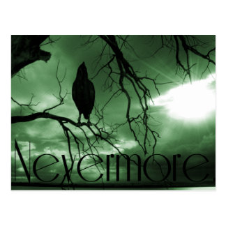 The Raven - Nevermore Sunbeams Tree - Green Postcard