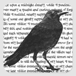 The Raven Poem Square Sticker