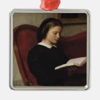 The Reader, 1861 Silver-Colored Square Ornament