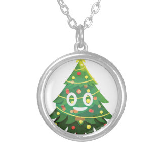 The real Emoji Christmas tree Silver Plated Necklace