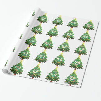 The real Emoji Christmas tree Wrapping Paper