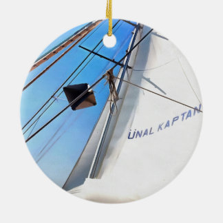 The Realist Adjusts The Sails pill Round Ceramic Ornament
