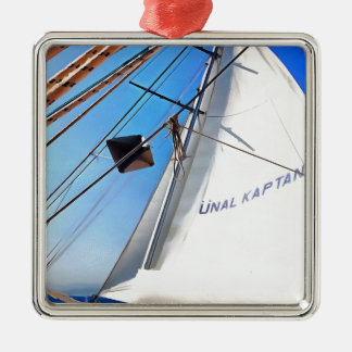 The Realist Adjusts The Sails pill Silver-Colored Square Ornament