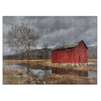 The Red Barn Reflecting in the Pond Cutting Board