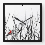 The Red Bird by Leslie Peppers Square Wall Clocks