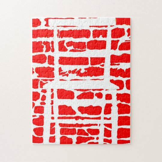 The Red Brick Wall With White Chair Jigsaw Jigsaw Puzzle