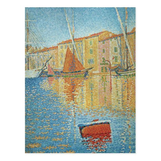 The Red Buoy by Paul Signac, Vintage Pointillism Post Cards