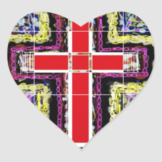 The red Cross Heart Sticker