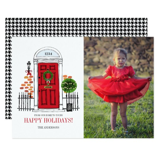 The Red Holiday Christmas Door Photo Card