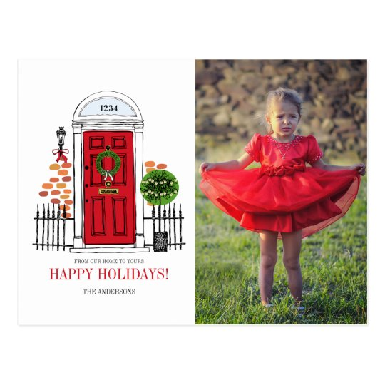 The Red Holiday Christmas Door Photo Postcard