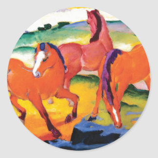 The Red Horses by Franz Marc Classic Round Sticker