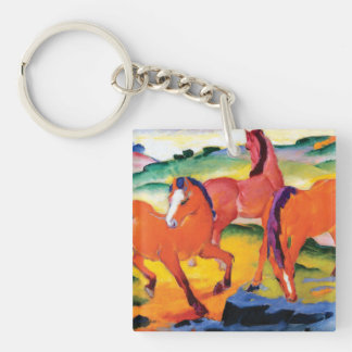 The Red Horses by Franz Marc Keychain