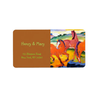 The Red Horses by Franz Marc Label