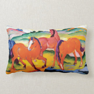The Red Horses by Franz Marc Lumbar Pillow