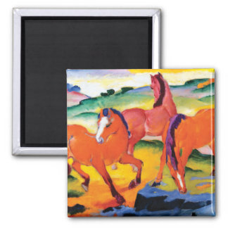 The Red Horses by Franz Marc Magnet