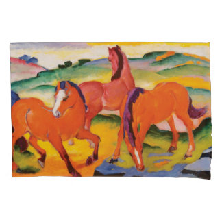 The Red Horses by Franz Marc Pillowcase