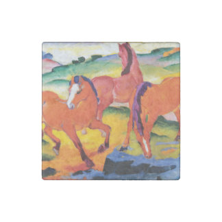 The Red Horses by Franz Marc Stone Magnets