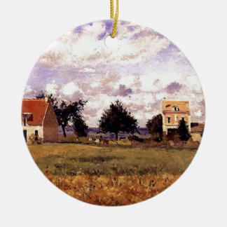 The Red House by Camille Pissarro Ceramic Ornament