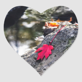 The Red Leaf Heart Sticker