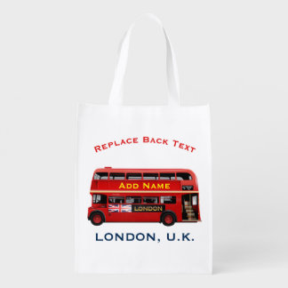 The Red London Double Decker Bus Reusable Grocery Bag
