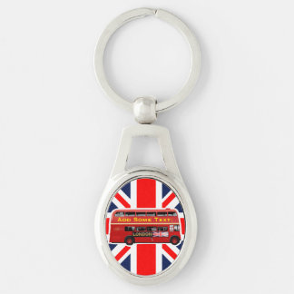 The Red London Double Decker Bus Silver-Colored Oval Keychain