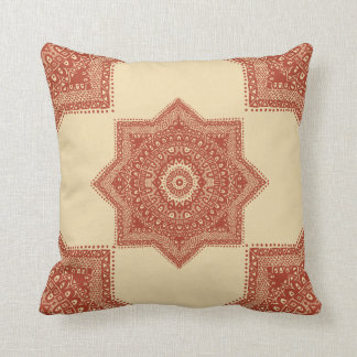 The Red Moroccan Pattern Throw Pillow