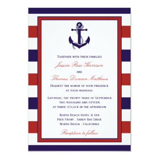"The Red & Navy Nautical Anchor Wedding Collection 5"" X 7"" Invitation Card"