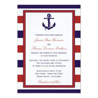 The Red & Navy Nautical Anchor Wedding Collection Card