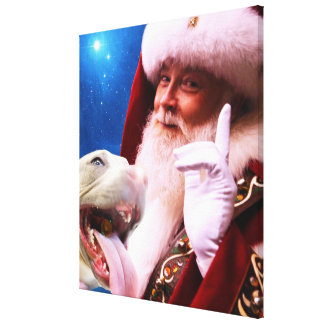 the Red Nosed Pitbull Dog & Santa Claus Stretched Canvas Prints
