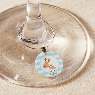 the Red Nosed Reindeer; Blue Stripes Wine Charms