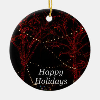 The Red Pair Greetings Round Ceramic Ornament