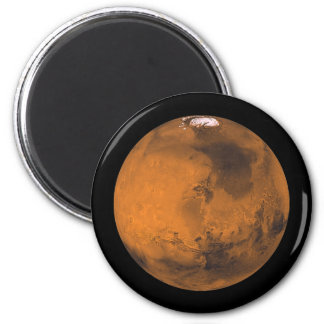 The Red Planet Mars with Ice Caps in Space Magnet