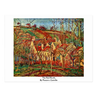 The Red Roofs,  By Pissarro Camille Postcard