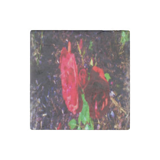 The Red Rose Flower Stone Magnet