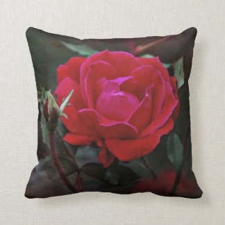 The Red Rose in Bloom Throw Pillow