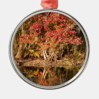 The Red Tree at Sunset Silver-Colored Round Ornament