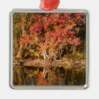 The Red Tree at Sunset Silver-Colored Square Ornament
