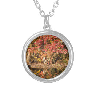 The Red Tree at Sunset Silver Plated Necklace