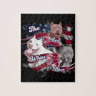 The Red, White & Blue Pitbull Dogs Puzzle