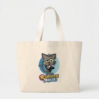 The Reduced Break Crazy Cat! Large Tote Bag