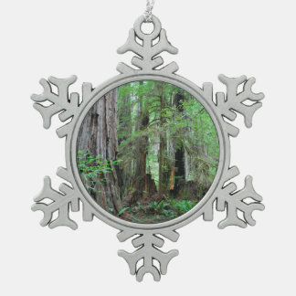 The Redwoods - Sequoia Snowflake Pewter Christmas Ornament