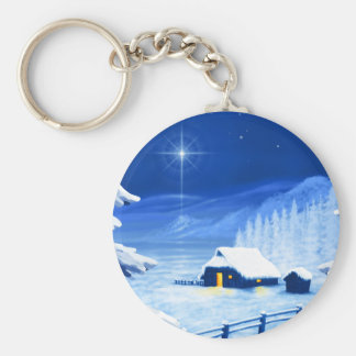 The refuge under the Christmas star Basic Round Button Keychain