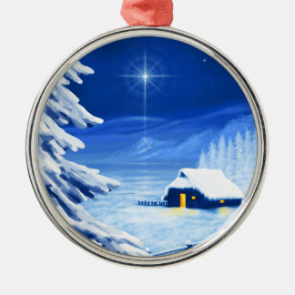 The refuge under the Christmas star Silver-Colored Round Ornament