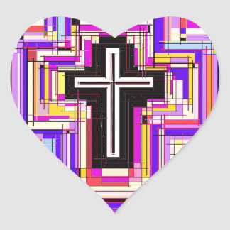 The Religious Christian Cross Heart Sticker