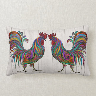 The Resplendent Rooster Lumbar Pillow - See Back