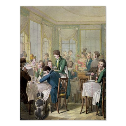 The Restaurant in the Palais Royal, 1831 Print