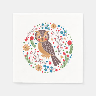 The Retro Horned Owl Disposable Napkin