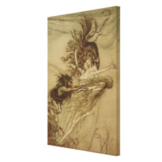 The Rhinemaidens teasing Alberich Stretched Canvas Print