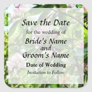 The Rhododendrons Are In Bloom Save the Date Square Sticker